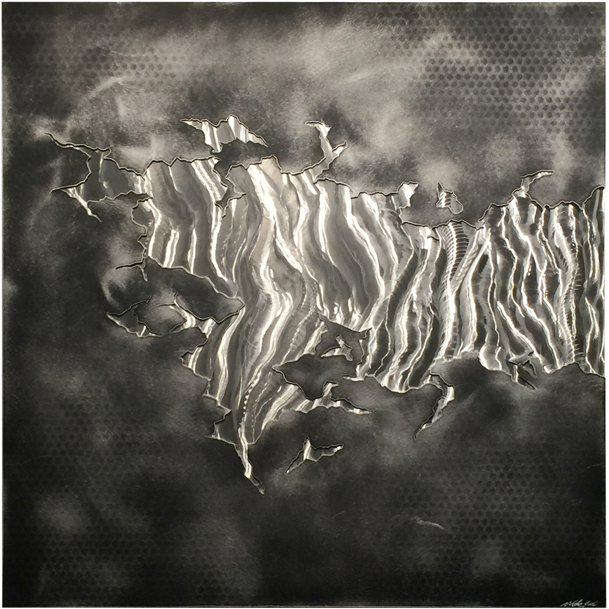 FROZEN WITHIN   Layered Black & Silver Abstract Metal Art - NYT0170M