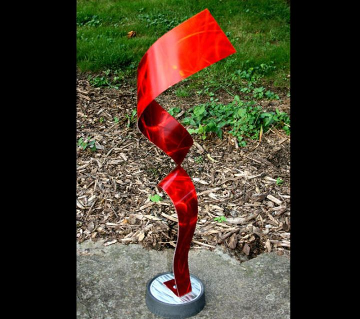 DIVIDED RED - Painted Metal Sculpture by Nicholas Yust