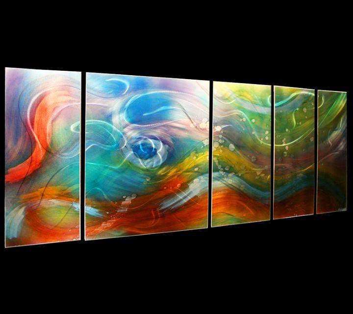 Esne Hybrid | Etched & Colored Rainbow Metal Art Abstract Art, Multi-panel Decor, Post-modern Design