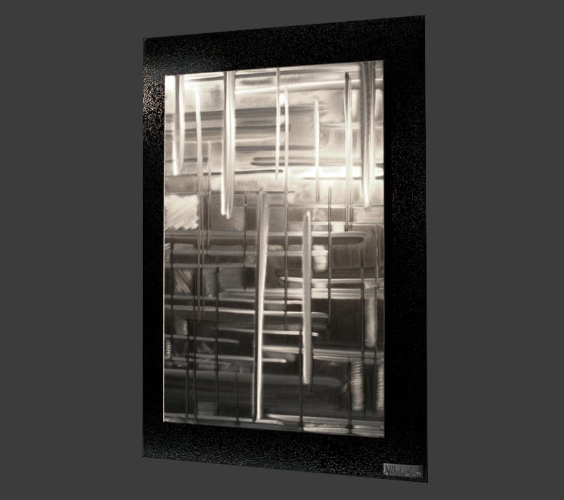 RIFT ZONES LARGE (RED/WHITE/BLACK) | Metal Plaid Art by Nicholas Yust - NY0352M