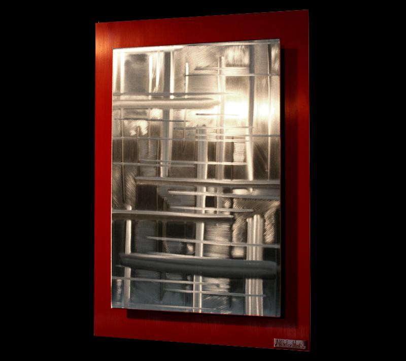 RIFT ZONES RED (LARGE) - Original Metal Painting by Nicholas Yust
