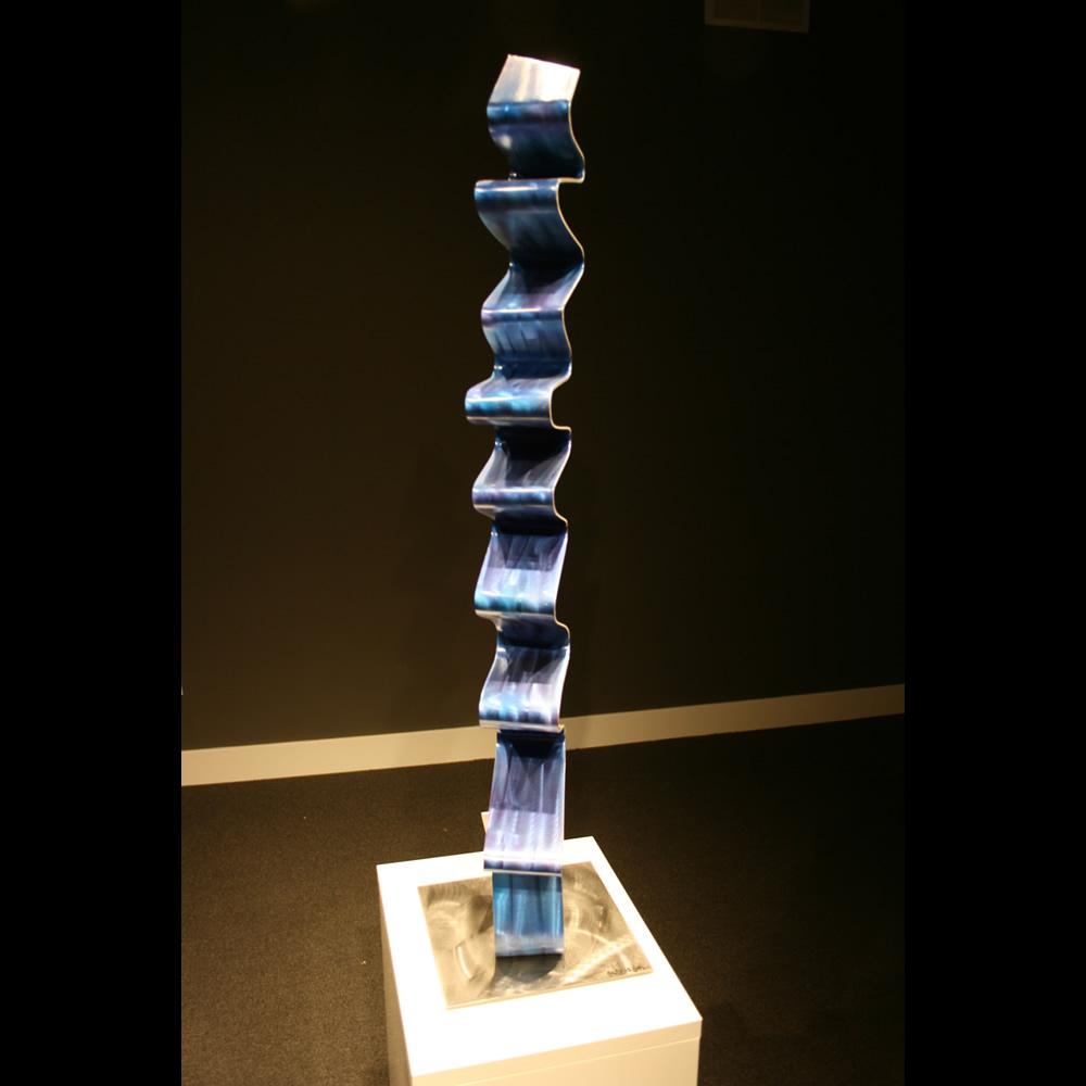 BLUE ACCORDION - Painted Metal Sculpture by Nicholas Yust