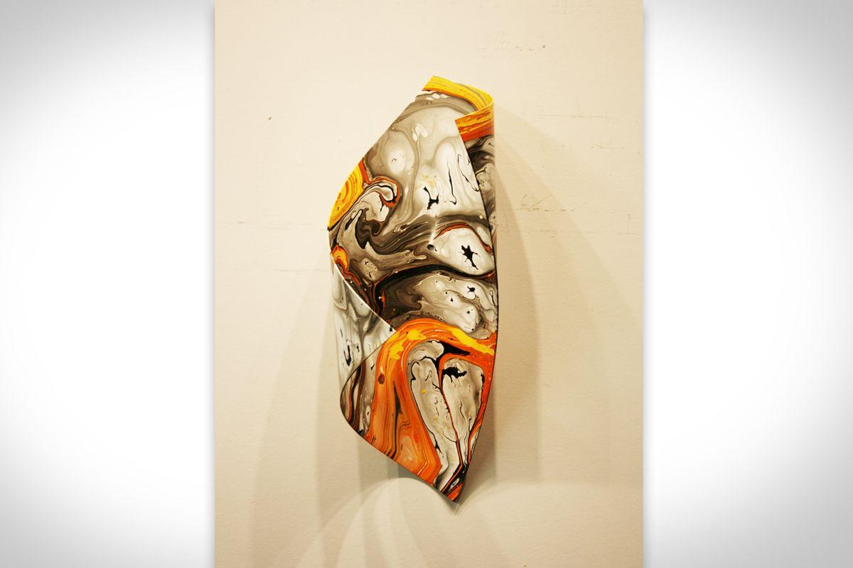 CURLED ORANGE: 1-OF-A-KIND - Dip-Painted Metal Art by Nicholas Yust