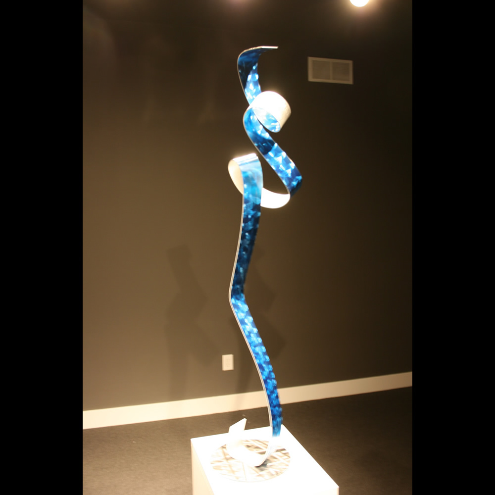LA BLUE BALLET - Painted Metal Sculpture by Nicholas Yust