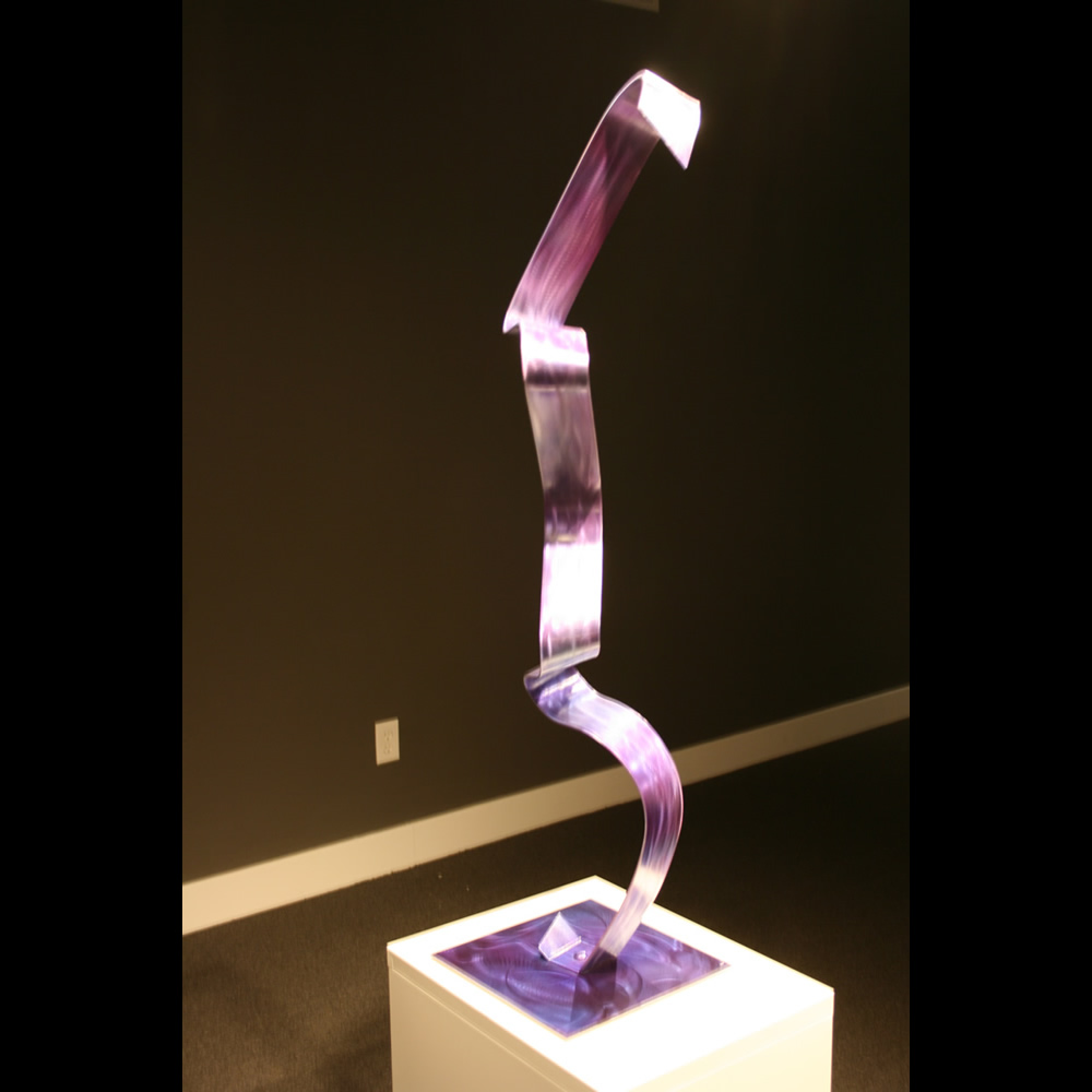PURPLE RIBBON - Painted Metal Sculpture by Nicholas Yust