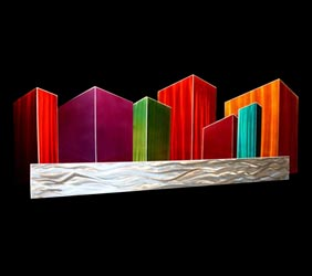 CITY WATERSCAPE - Abstract Metal Art by Nicholas Yust