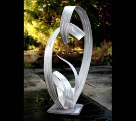 EMBRACING BEINGS - Silver Metal Sculpture by Nicholas Yust