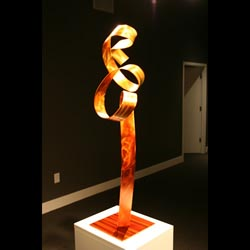 ORANGE FLAMINGO - Painted Metal Sculpture by Nicholas Yust