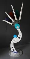 AVIATION (ACTUAL JET-ENGINE PARTS) - Painted Metal Sculpture by Nicholas Yust